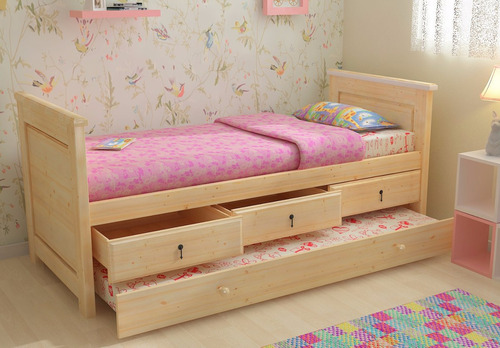 cama juvenil, infantil con cajones y carro