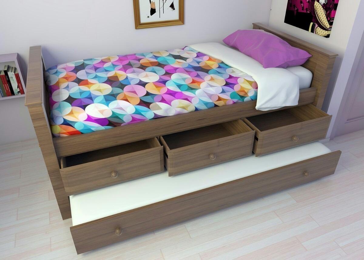 cama juvenil o infantil con cajones y carro cama