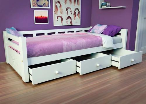 cama juvenil o infantil divan con respaldo sin cajones