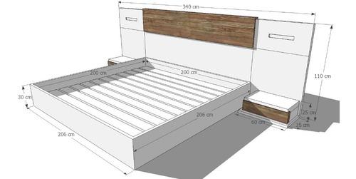 cama king lacada con mesas de noche ref aris