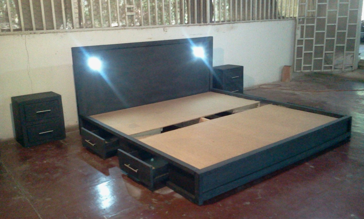 Cama king size 2 x 2 negro mate bs en for Cama queen size or king size