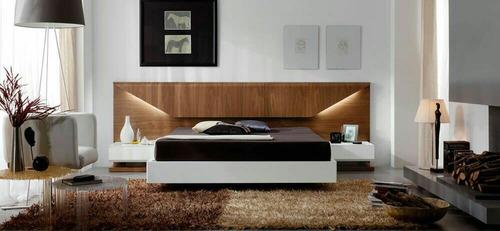 cama lineal moderno 2 plazas + veladores