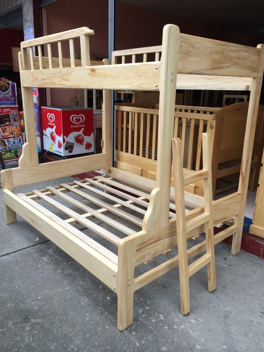 Cama litera madera de pino de 1 30 y 2 plazas new modelo - Cama litera de madera ...