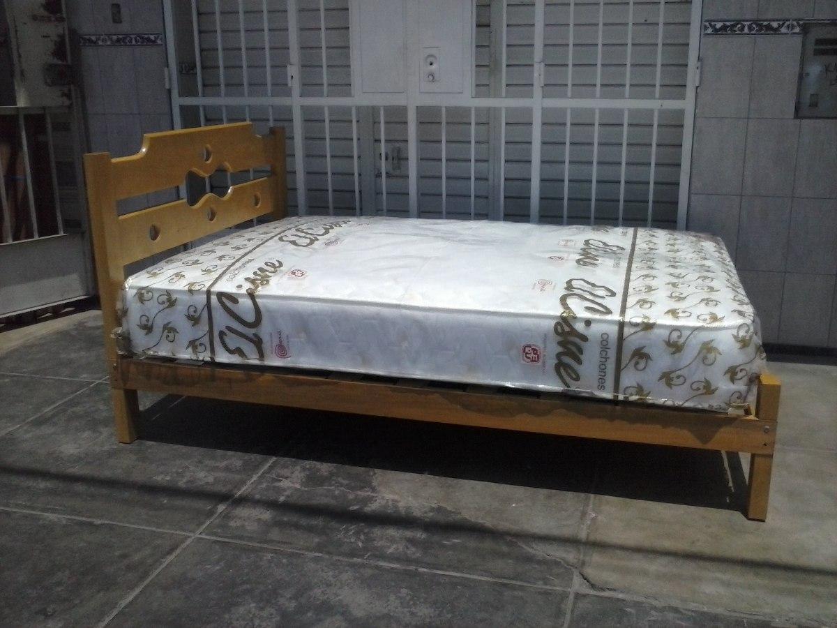 Cama madera capirona colch n 2 plazas ortop dico a for Cama 2 plazas madera