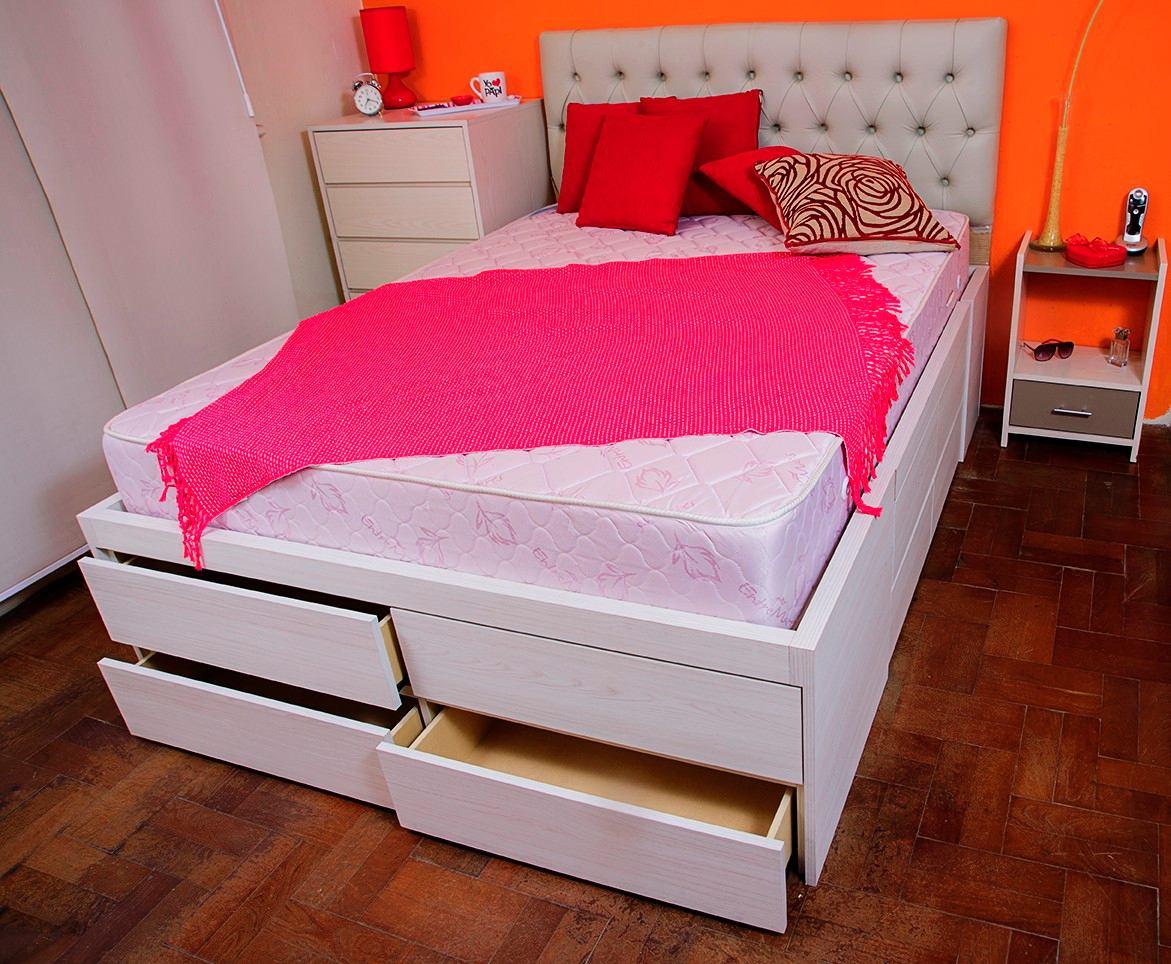 Moderno Cama Blanca Estructuras De Muebles De Tamaño King Friso ...