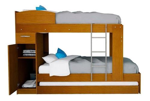 cama marinera cucheta triliche 3 en 1 con escalera placard