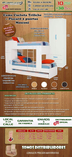 cama marinera cucheta triliche + placard 2 puertas 2 cajones