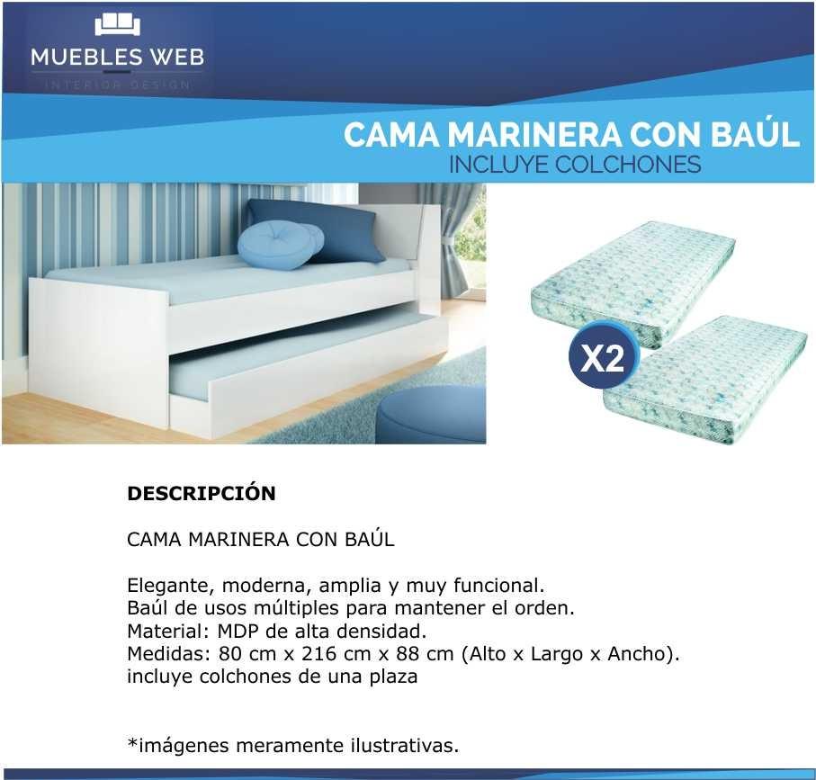 Cama Marinera Con Baul - Incluye 2 Colchones Muebles Web - $ 4.490 ...