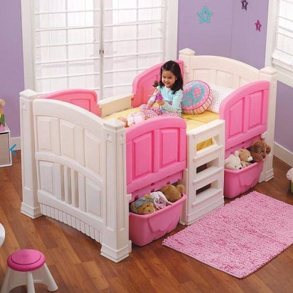 Cama material de casita step 2 gemela para ni a rosa for Cama de casita