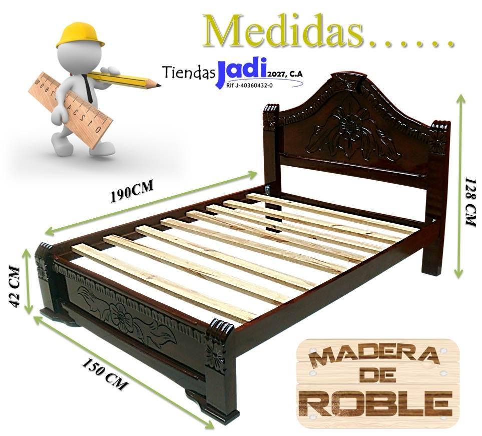Cama matrimonial de madera de roble 5 a os de garantia for Que medidas tiene una cama matrimonial