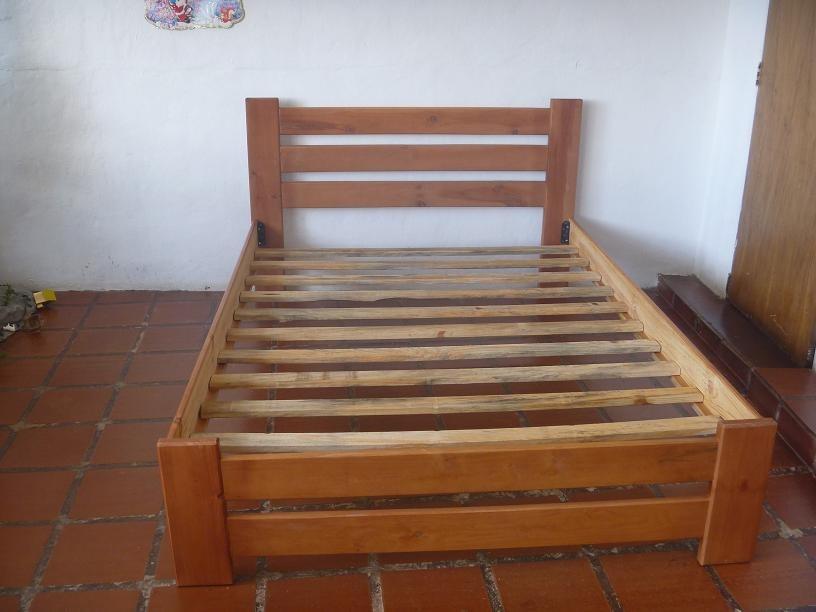 Cama matrimonial de madera nueva bs en for Como hacer una base para cama individual