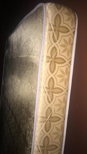 cama matrimonial de metal con colchon  almohadas pluma ganzo
