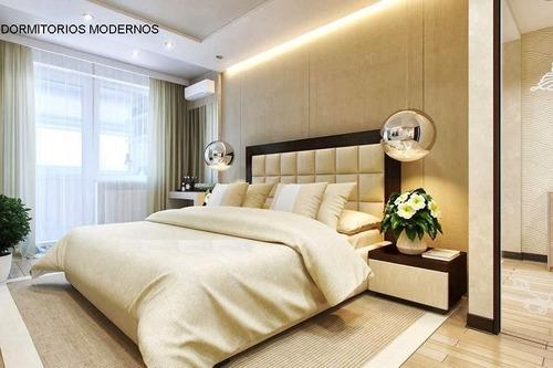 cama moderna con veladores