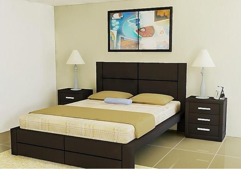 Cama moderna con veladores u s 599 00 en mercado libre - Cojin para cabecero de cama ...