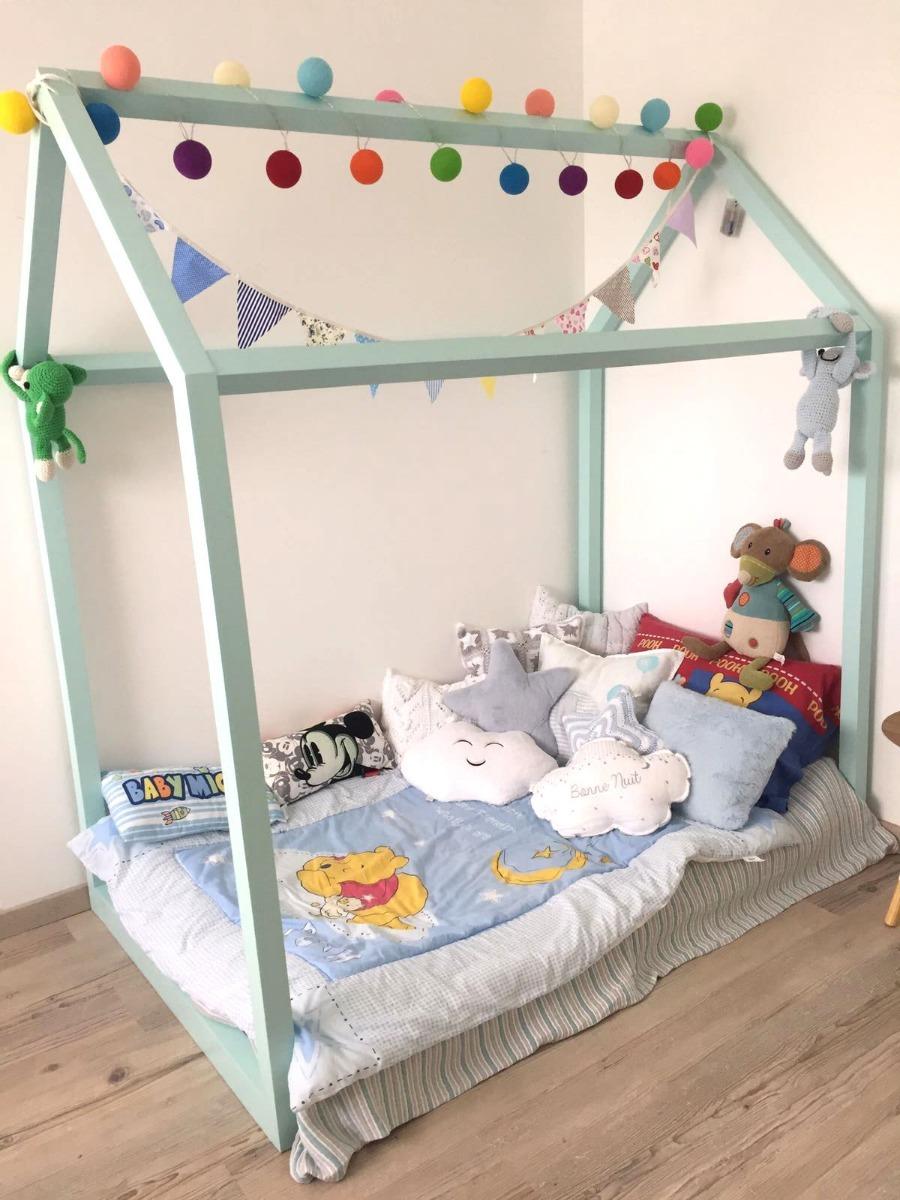 cama montessori casita madera maciza dormitorio ni os bebe en mercado libre. Black Bedroom Furniture Sets. Home Design Ideas