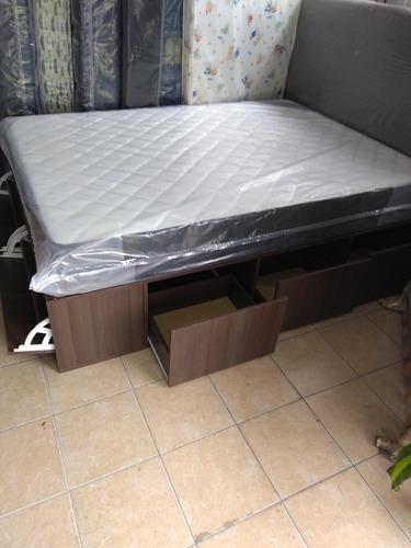 cama multifunción 2 plazas  140x190 y colchón alta densidad