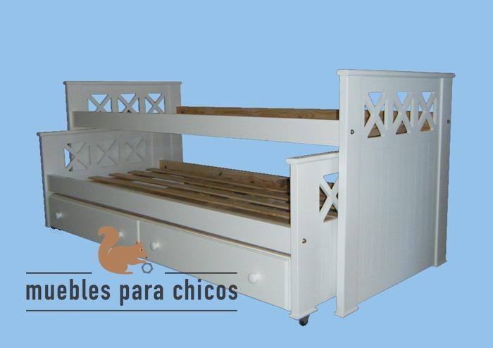 Cama Nido 1 Plaza Laqueada Blanco Linea Cruz Con Cajones - $ 11.375 ...