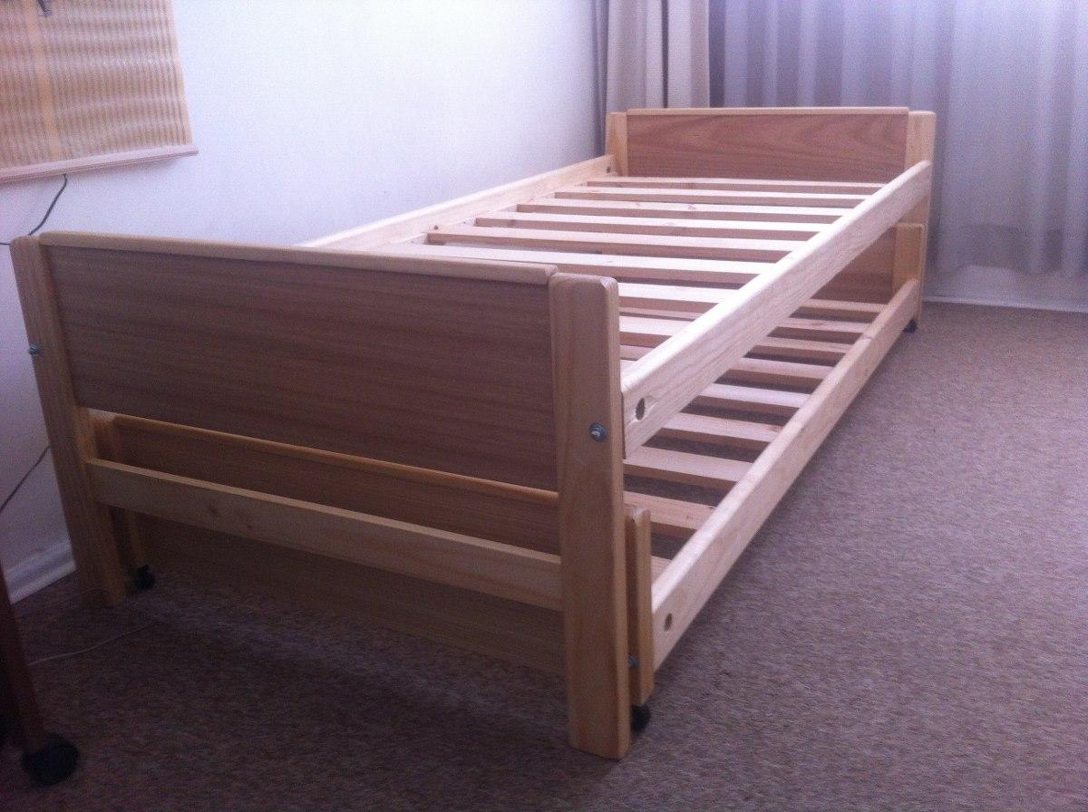 Cama nido 1 plaza madera barnizada somos fabricantes for Camas de 1 plaza baratas