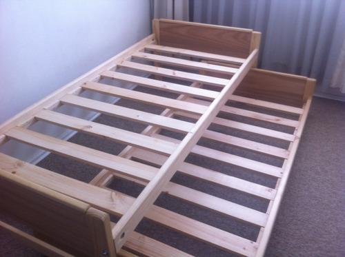 Cama nido 1 plaza madera barnizada somos fabricantes for Precio cama una plaza