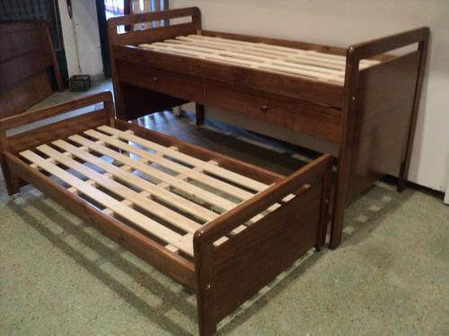 cama nido doble en madera con cajones. serie a muebles.