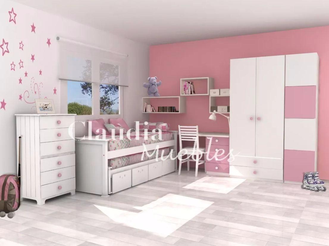 Cama nido doble con cajones dormitorio juvenil cama nido for Cama nido 1 plaza y media