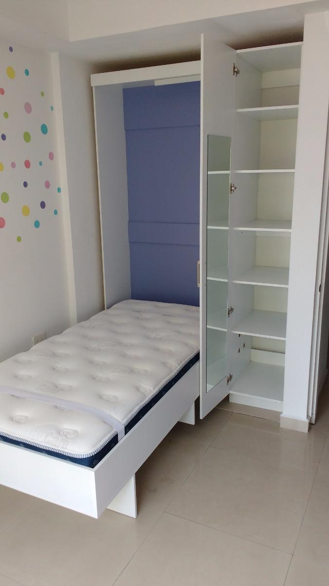 Cama oculta indivdual 18 en mercado libre for Cama escondida en mueble