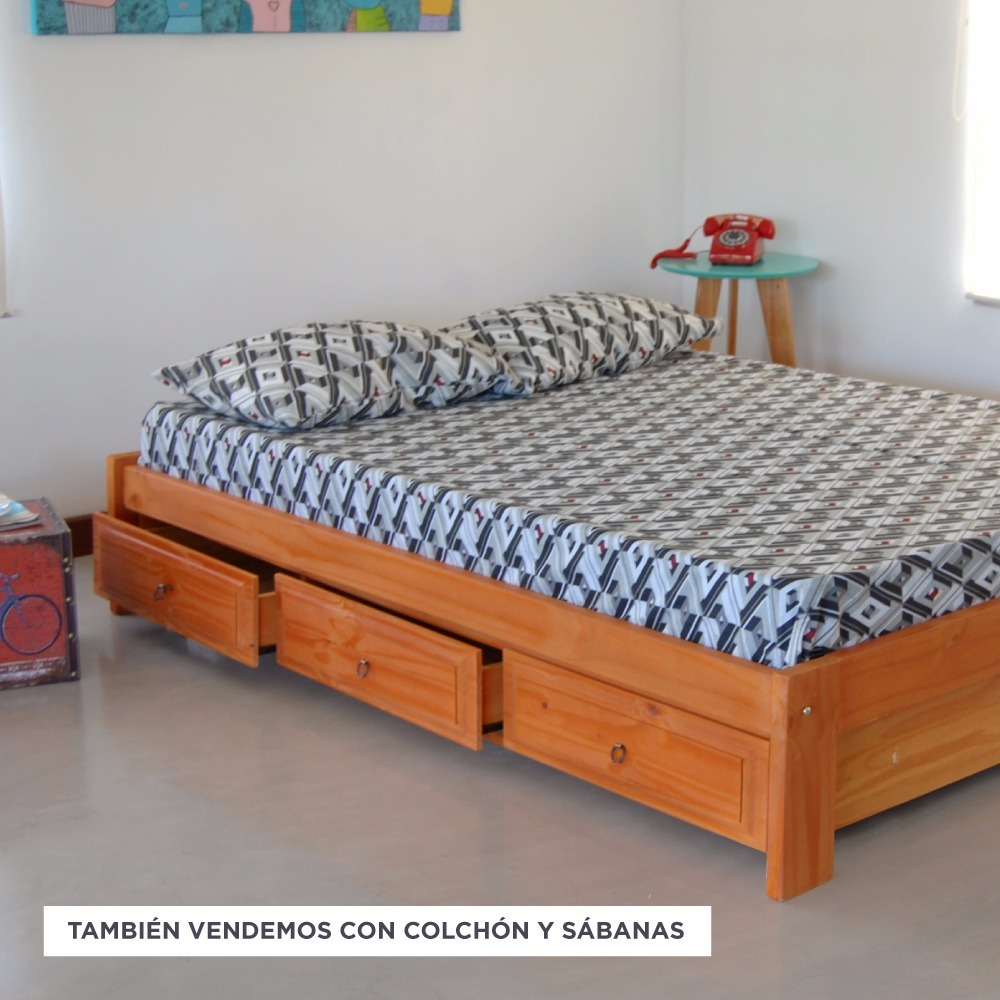 Cama Otomana 2 Plazas Con Cajones P/colchon 140x190 Stockhoy ...