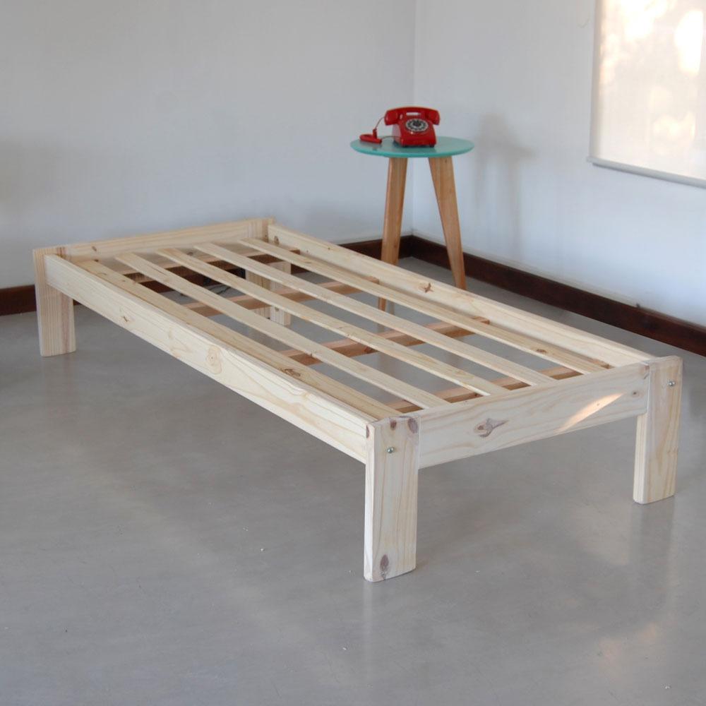 Cama Otomana Tipo Sommier Pino Macizo Natural Stockhoy - $ 999,00 en ...