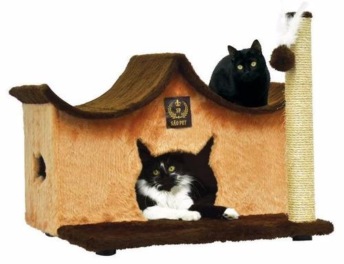 cama para gatos com arranhador em sisal e pelúcia