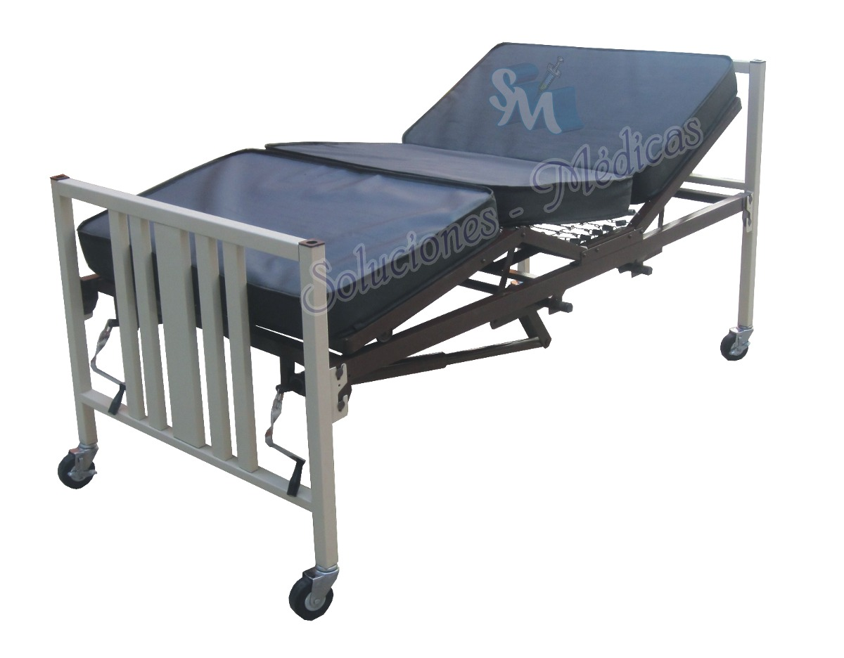 Cama para hospital manual con ruedas y colch n seccionado - Ruedas para camas ...