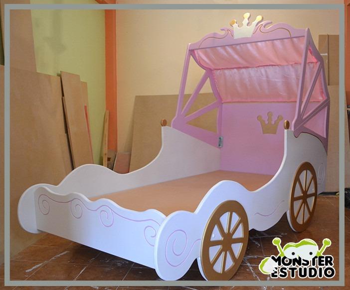 cama para ni a carroza de princesa con mesa de noche bs