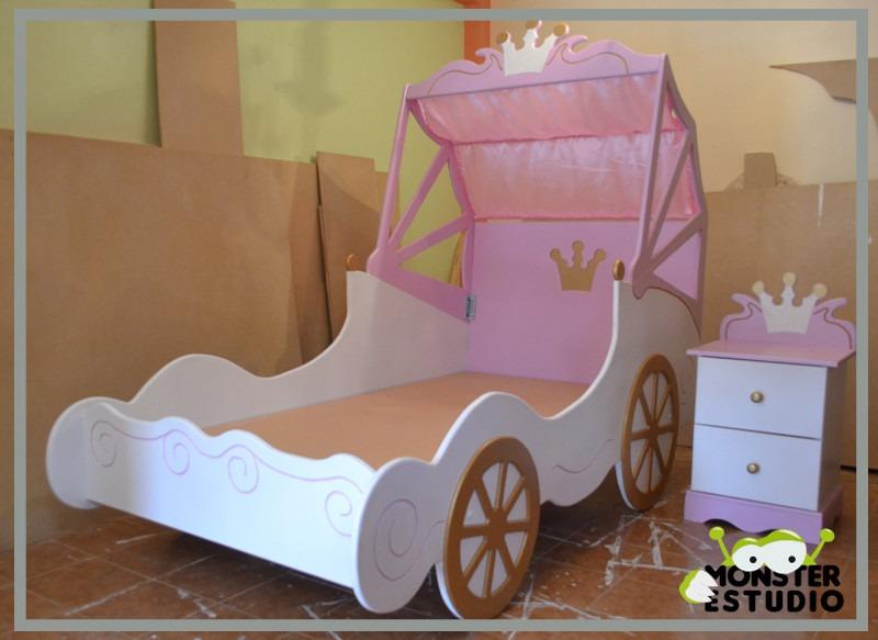 Cama para ni a carroza de princesa con mesa de noche bs - Cama de princesa para nina ...