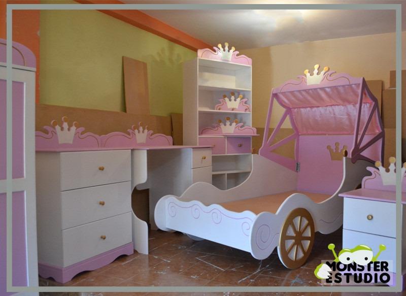 Cama para ni a carroza de princesa con mesa de noche bs - Cama princesa nina ...