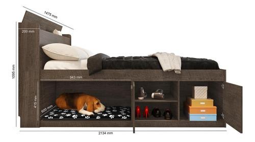cama pet puppy casal 1,38 framar mdf e mdp amarula