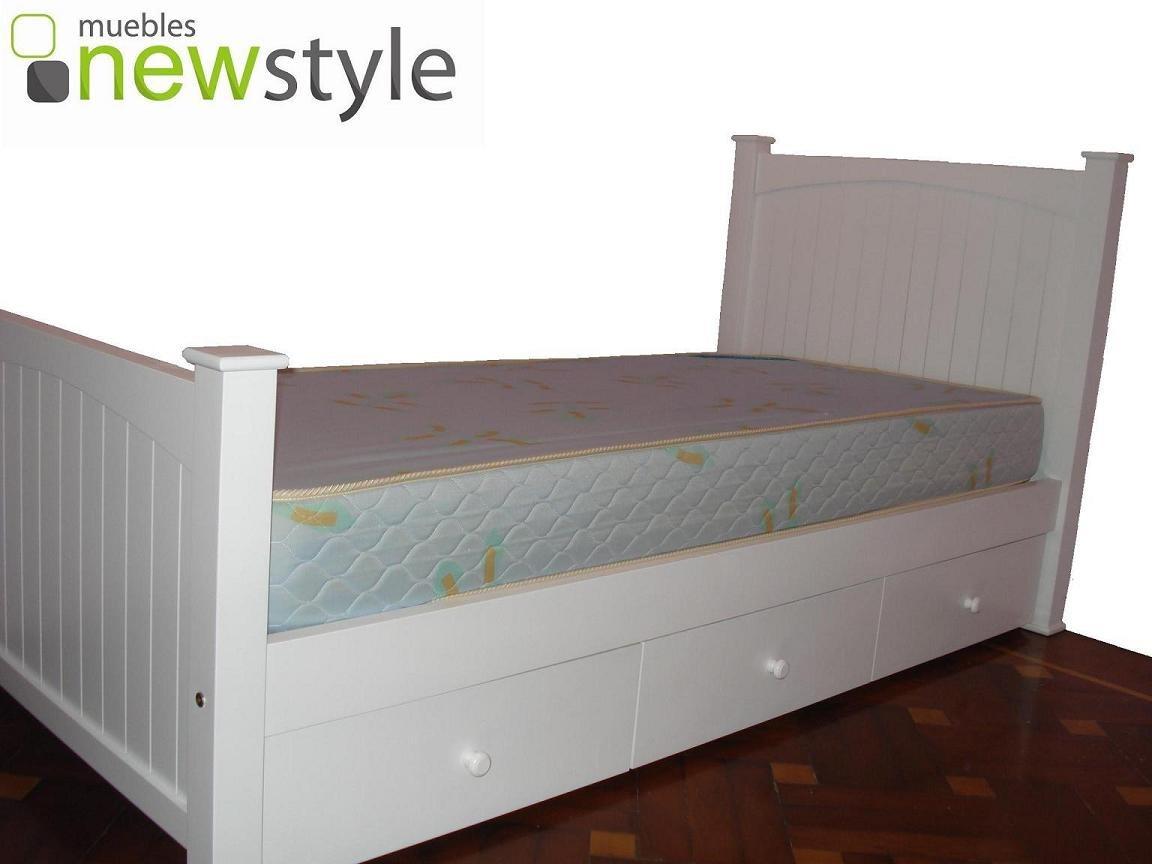 Cama Plaza Y Media Laqueadas Guatamb Somos Fabricantes  # Muebles New Style Villa Tesei