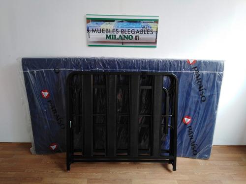 cama plegable plaza y media 1.90cmx1.00cm+colchon 4 ..nuevo!