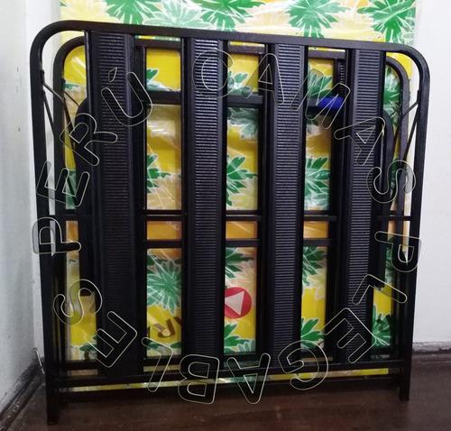 cama plegable reforzada 11/2 pza+ colchon 4 nuevo m comodoy