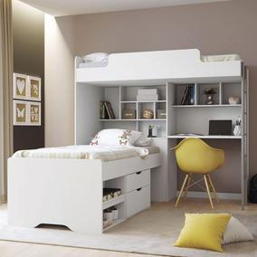 be994f2e31 Cama Quarto Solteiro Modulo Office New + Cama Gavetas Conect