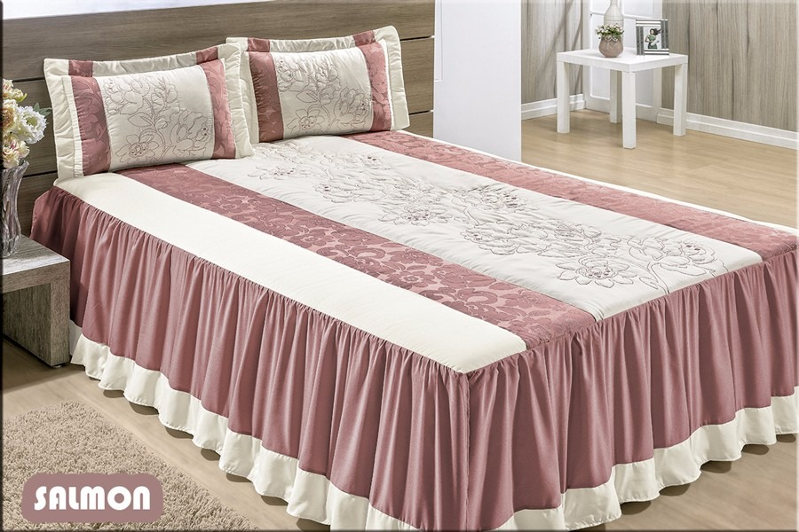 Colcha para cama casal queen 05 pe as cor salmon for Colchas para camas grandes