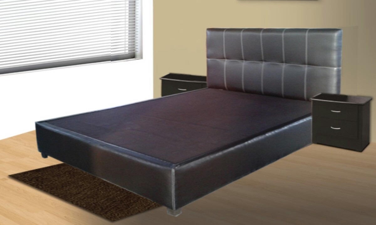 Cama queen size chocolate base y cabecera de rec mara king for Base de cama queen size con cajones