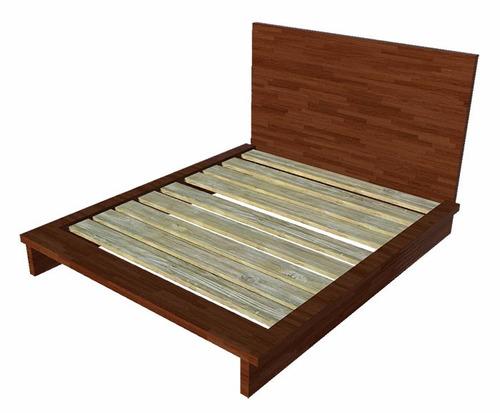 cama queensize madera pino cabecera - madera viva