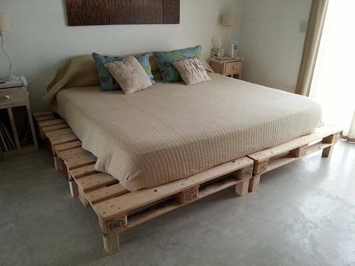 cama rustica sommier de pallet euro queen diseño y calidad!!