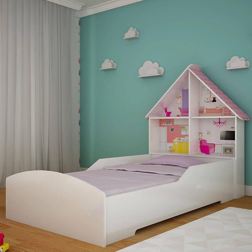 cama solteiro casinha p/ colchão 88 cm - branca