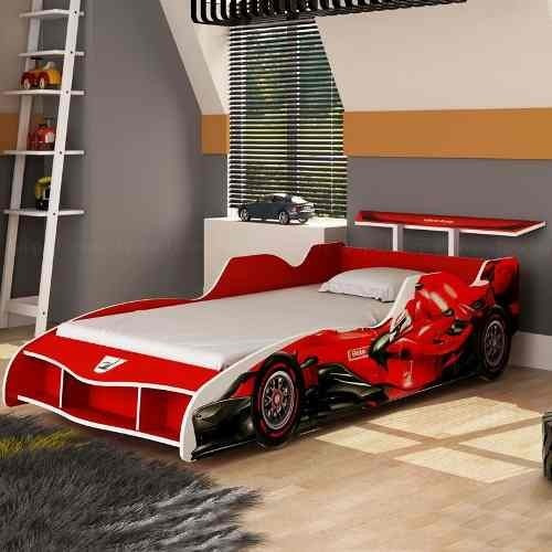 Cama solteiro em forma de carro vermelho menino infantil - Cama en forma de auto ...