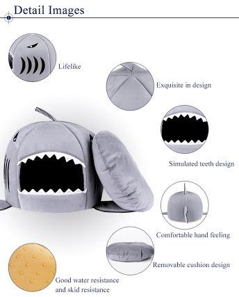 cama suave de boca tiburón para perro chico o gato