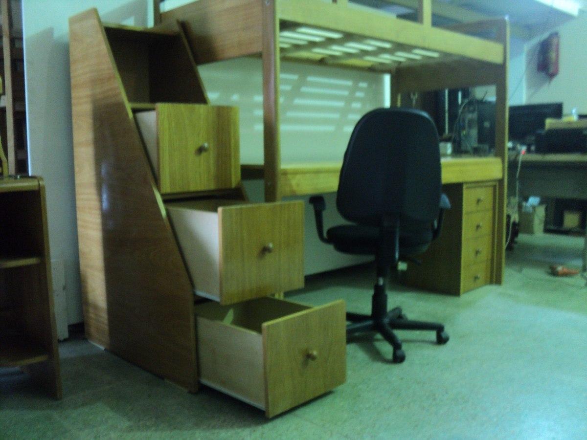 cama puente escritorio madera mueble escalera