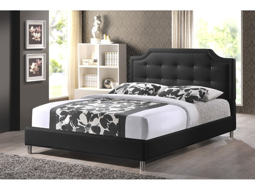 cama tapizada ecocuero con botones