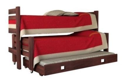 cama triple pacifico 212 madera rustica