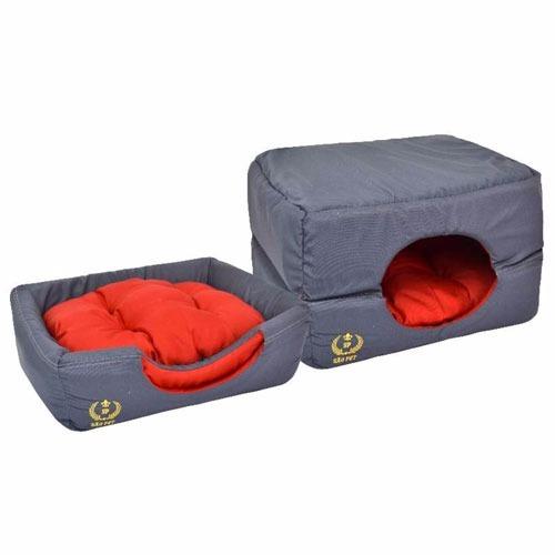 cama tunel iglu toca para cães cachorros gatos cinza pequena