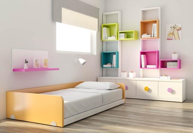 Cama una plaza media dormitorio escritorio repisas dj 007 - Bellerin muebles ...